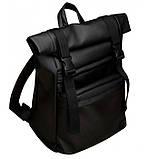 Мужской черный рюкзак ролл матовая эко кожа (качественный кожзам) городской, повседневный роллтоп, фото 10