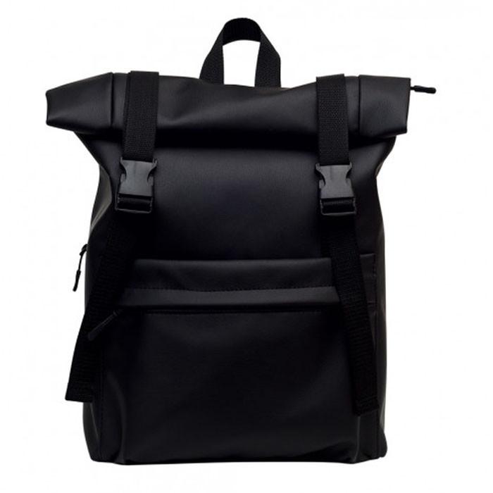 Рюкзак мужской черный роллтоп матовая эко-кожа (качественный кожзам) повседневный, офисный, для поездок