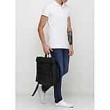 Рюкзак мужской черный роллтоп матовая эко-кожа (качественный кожзам) повседневный, офисный, для поездок, фото 2