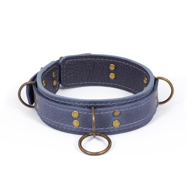 Премиум ошейник LOVECRAFT размер M голубой, натуральная кожа, в подарочной упаковке SO3320