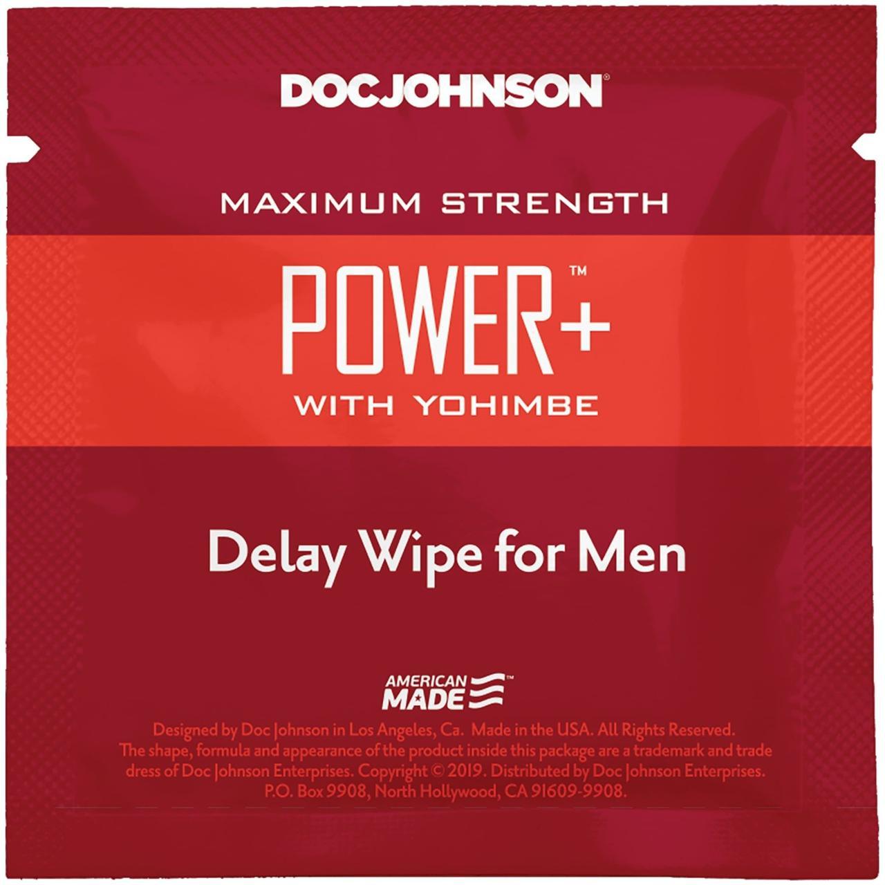 Пролонгирующая салфетка Doc Johnson Power+ Delay Wipe For Men с  экстрактом йохимбе SO3488