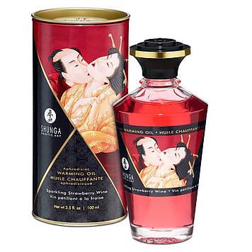 Розігріваючу масло Shunga Aphrodisiac Warming Oil - Sparkling Strawberry Wine (100 мл) без цукру SO2497 код