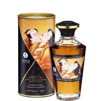 Розігріваючу масло Shunga Aphrodisiac Warming Oil - Caramel Kisses (100 мл) без цукру, смачний SO2501 код