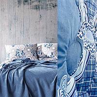 Одеяло на овчине открытый мех COMFORT 200 х 220 см (23319) Голубое