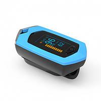 Пульсоксиметр ПЕРЕЗАРЯДЖАЄТЬСЯ на палець для вимірювання пульсу і сатурації крові BOXYM oSport Blue (FL000081)