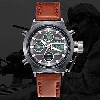 Мужские наручные часы Amst Watch, коричневые, черные, часы на руку