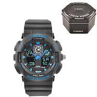 Часы мужские спортивные наручные  C-SHOCK GA-100 Black-Blue, Box, подсветка 7 цветов