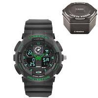 Часы мужские спортивные наручные  C-SHOCK GA-100 Black-Green, Box, подсветка 7 цветов