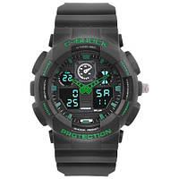 Часы мужские спортивные наручные  C-SHOCK GA-100 Black-Green, подсветка 7 цветов