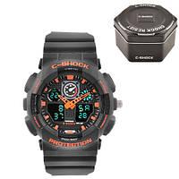 Часы мужские спортивные наручные  C-SHOCK GA-100 Black-Orange, Box, подсветка 7 цветов, фото 1