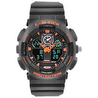 Часы мужские спортивные наручные  C-SHOCK GA-100 Black-Orange, подсветка 7 цветов
