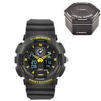 Часы мужские спортивные наручные  C-SHOCK GA-100 Black-Yellow, Box, подсветка 7 цветов