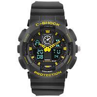 Часы мужские спортивные наручные  C-SHOCK GA-100 Black-Yellow, подсветка 7 цветов