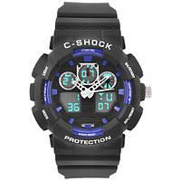 Часы мужские спортивные наручные  C-SHOCK GA-100B Black-Blue, подсветка 7 цветов