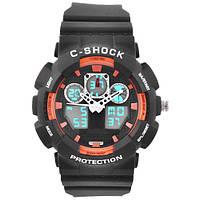 Часы мужские спортивные наручные  C-SHOCK GA-100B Black-Orange, подсветка 7 цветов
