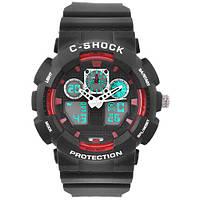 Часы мужские спортивные наручные  C-SHOCK GA-100B Black-Red, подсветка 7 цветов
