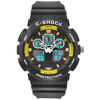 Часы мужские спортивные наручные  C-SHOCK GA-100B Black-Yellow, подсветка 7 цветов