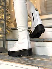 Женские зимние ботинки в стиле Dr. Martens Jadon White с мехом, фото 2