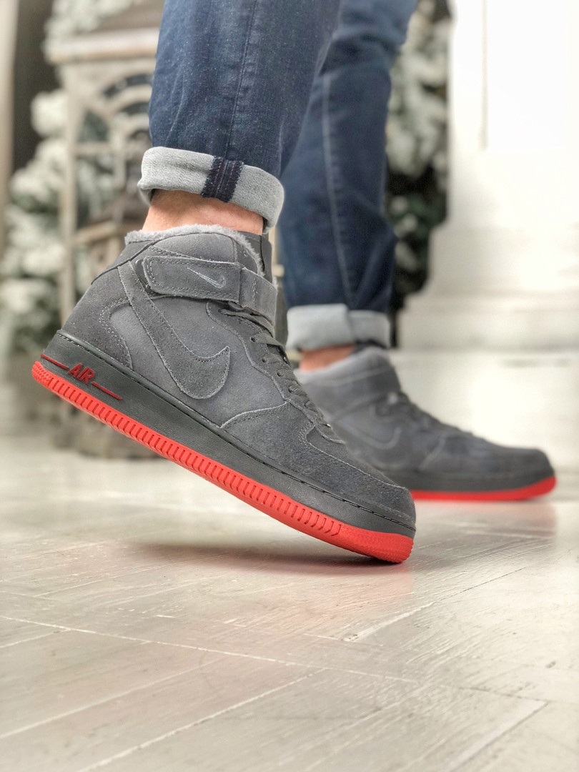 Мужские зимние кроссовки Nike Air Force серого цвета (Реплика AAA+)