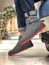 Мужские зимние кроссовки Nike Air Force серого цвета (Реплика AAA+), фото 2