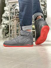 Мужские зимние кроссовки Nike Air Force серого цвета (Реплика AAA+), фото 3
