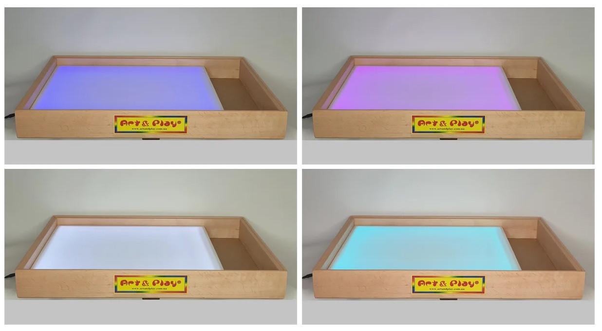 Світлова пісочниця 70х50 см Вільха різнобарвна підсвітка з відсіком для іграшок Tia-Sport
