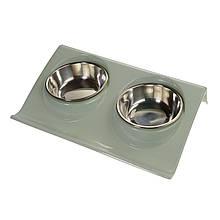 Миска для собак і кішок на підставці подвійна (сіро-блакитний)
