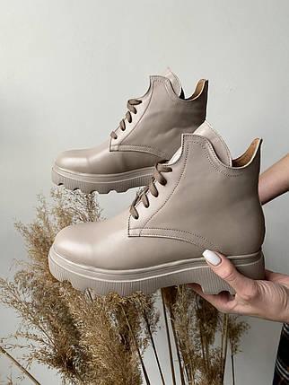 Женские ботинки кожаные весна/осень бежевые Yuves 125 байка, фото 2
