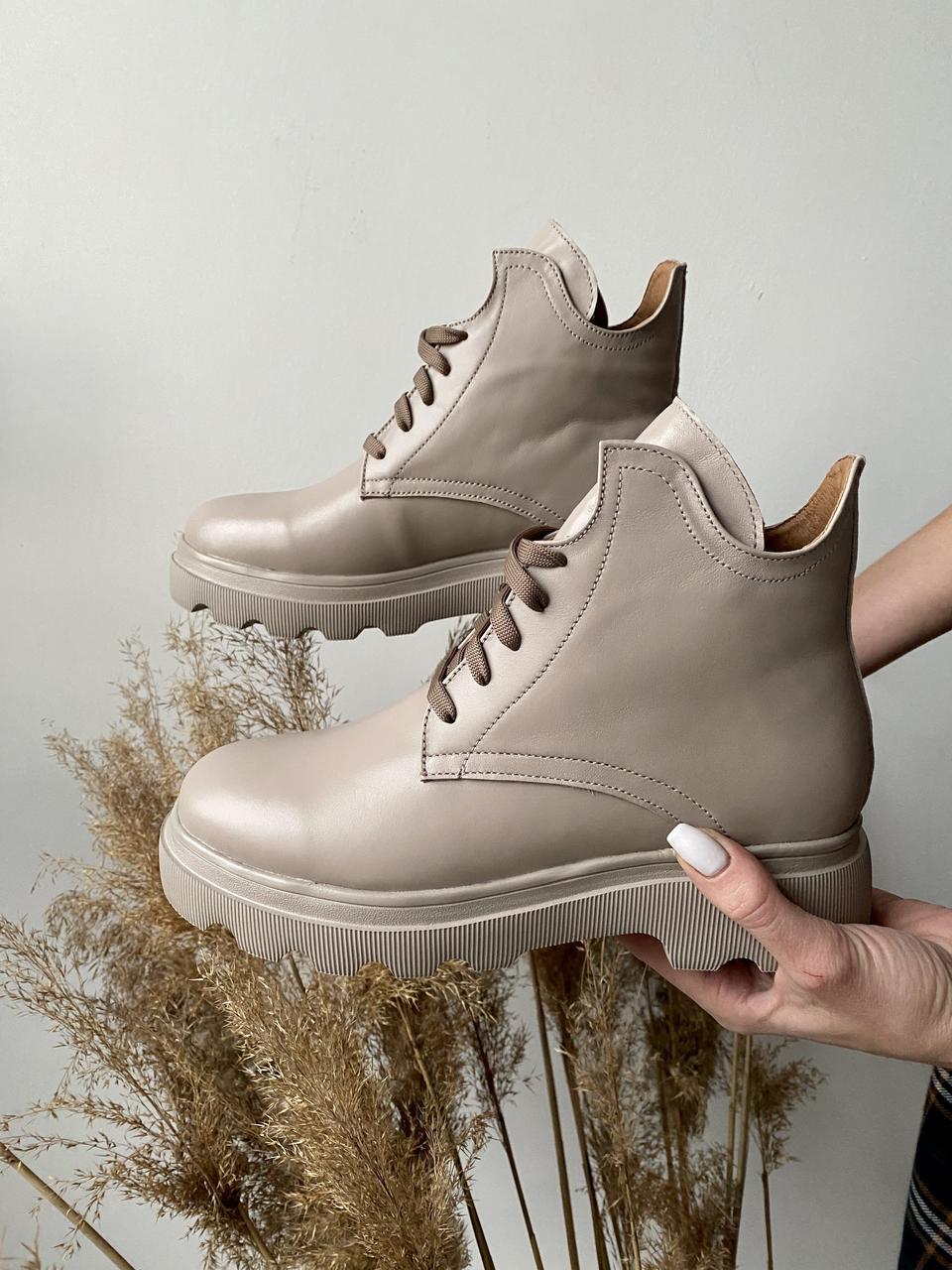 Женские ботинки кожаные весна/осень бежевые Yuves 125 байка