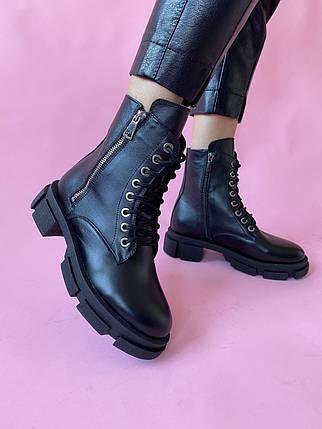Женские ботинки кожаные весна/осень черные Yuves 129 байка, фото 2