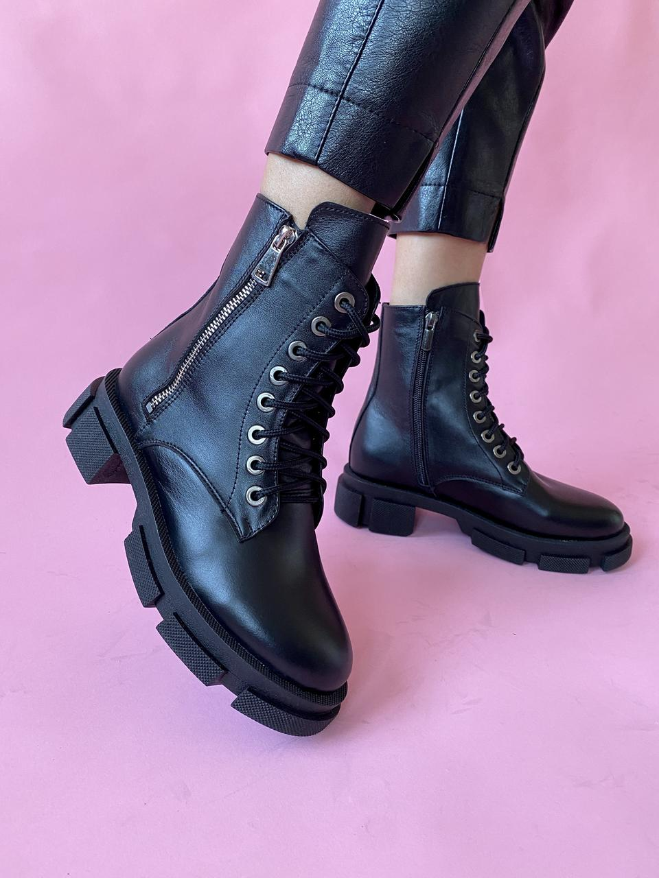 Женские ботинки кожаные весна/осень черные Yuves 129 байка