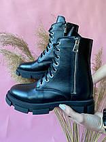 Женские ботинки кожаные весна/осень черные Yuves 129 байка, фото 3