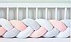 """Защитный бортик в кроватку """"Косичка"""" 120 см (персиковый_белый_светло-серый) хлопковый велюр"""