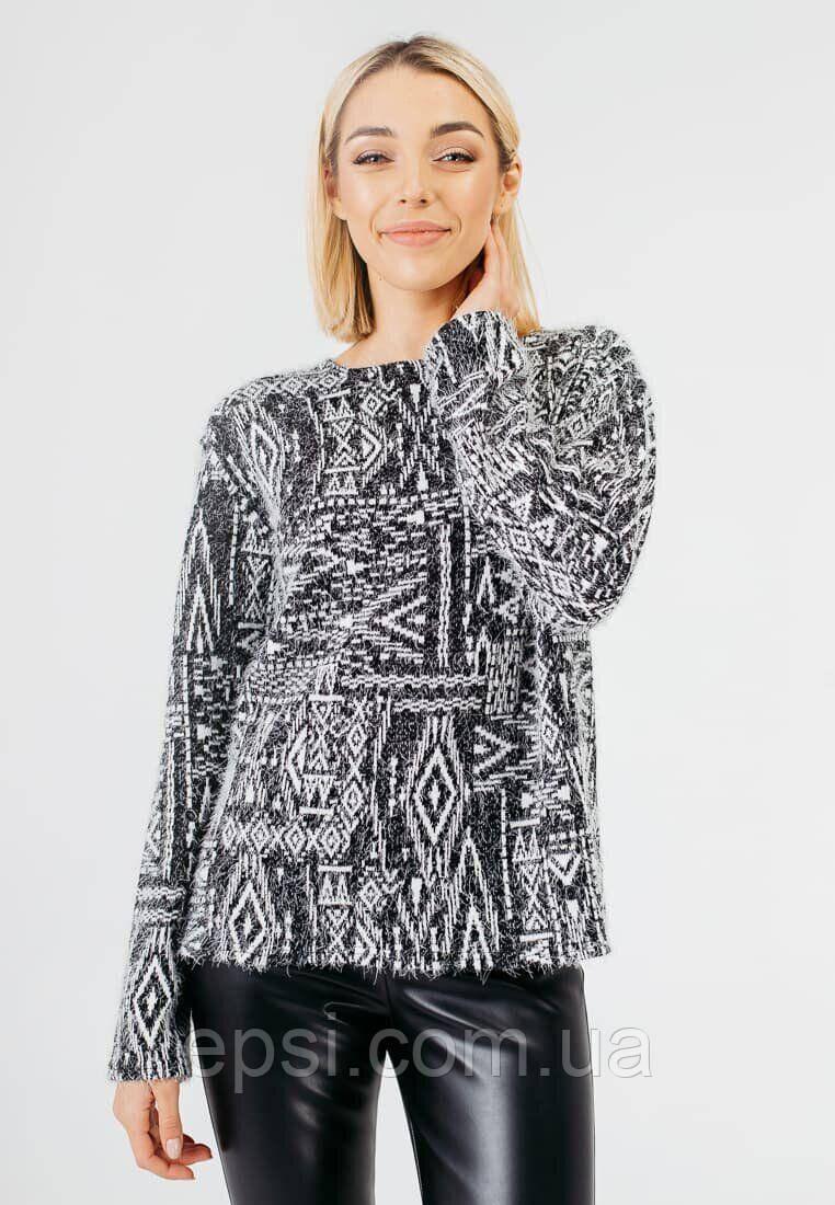 Женский свитер с геометрическим принтом Bessa 6501-XL