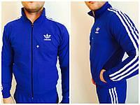 Утепленная спортивная кофта на замке брендовая  в синем цвете