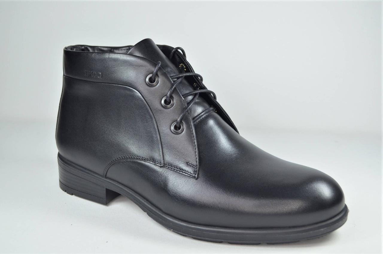 Чоловічі зимові шкіряні черевики чоботи чорні IKOC 3726 - 1