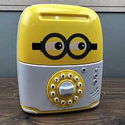 Детский сейф копилка Saving Box для денег желтый миньон с кодом для детей ребенка музыкальная игрушка