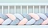 """Защитный бортик в кроватку """"Косичка"""" 180 см (белый_серый_персиковый) хлопковый велюр"""