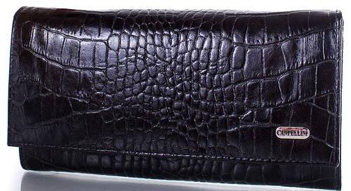 Прочный  женский кожаный кошелек  CANPELLINI (КАНПЕЛЛИНИ) SHI20342KR-black (черный)