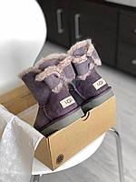 Комфортные угги для девушек MINI BAILEY BOW II замшевые. Женская зимняя обувь УГГи с бантом