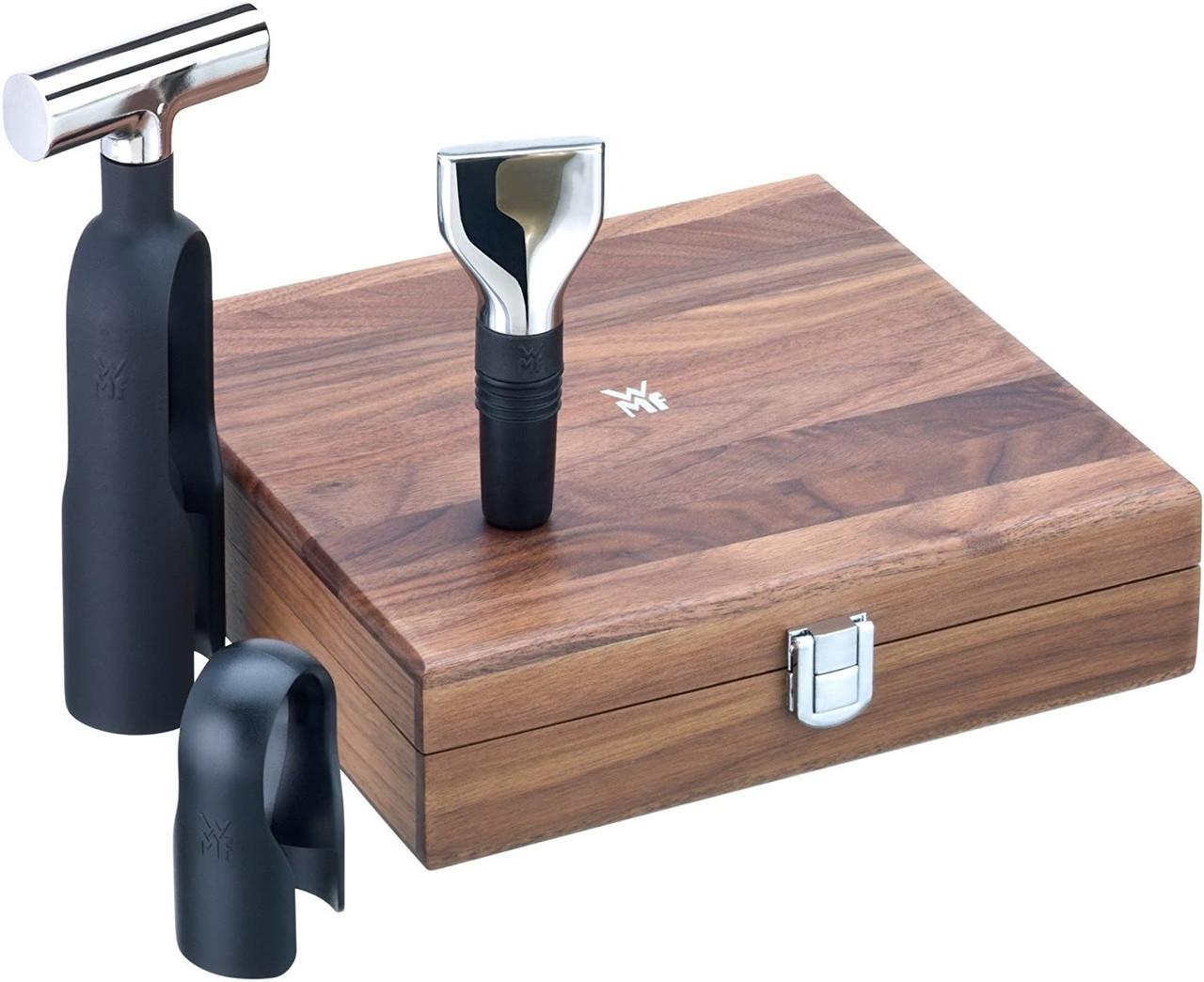 Набор для вина WMF Baric Sommelier, 3 предмета, штопор, резак, пробка, в коробке из орехового дерева
