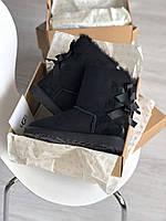 Комфортные угги для девушек BAILEY BOW II BLACK замшевые. Женская зимняя обувь УГГи с двумя бантами.