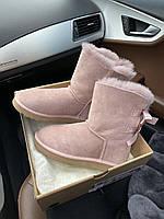 Комфортні уггі для дівчат BAILEY BOW II СУТІНКИ замшеві. Жіноча зимове взуття Уггі з двома бантами