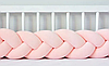 """Защитный бортик в кроватку """"Косичка"""" 180 см (персиковый) хлопковый велюр"""