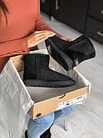 Комфортные угги для девушек CLASSIC SHORT BLACK. Женская замшевая зимняя обувь УГГи.