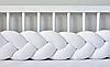 """Защитный бортик в кроватку """"Косичка"""" 180 см (белый) хлопковый велюр"""