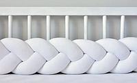 """Защитный бортик в кроватку """"Косичка"""" 180 см (белый) хлопковый велюр, фото 1"""