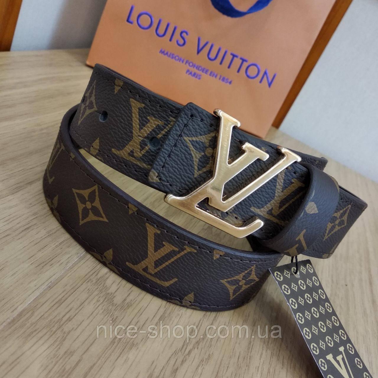 Ремень Louis Vuitton кожаный, цвет фурнитуры- золото