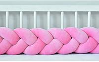 """Защитный бортик в кроватку """"Косичка"""" 240 см (розовый) хлопковый велюр, фото 1"""
