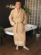 Махровый мужской халат длинный